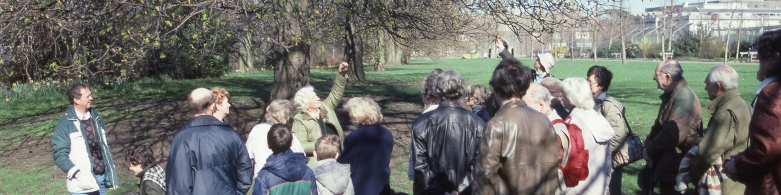 Mary Gillham leads a guided walk in Bute Park, Cardiff in 1991