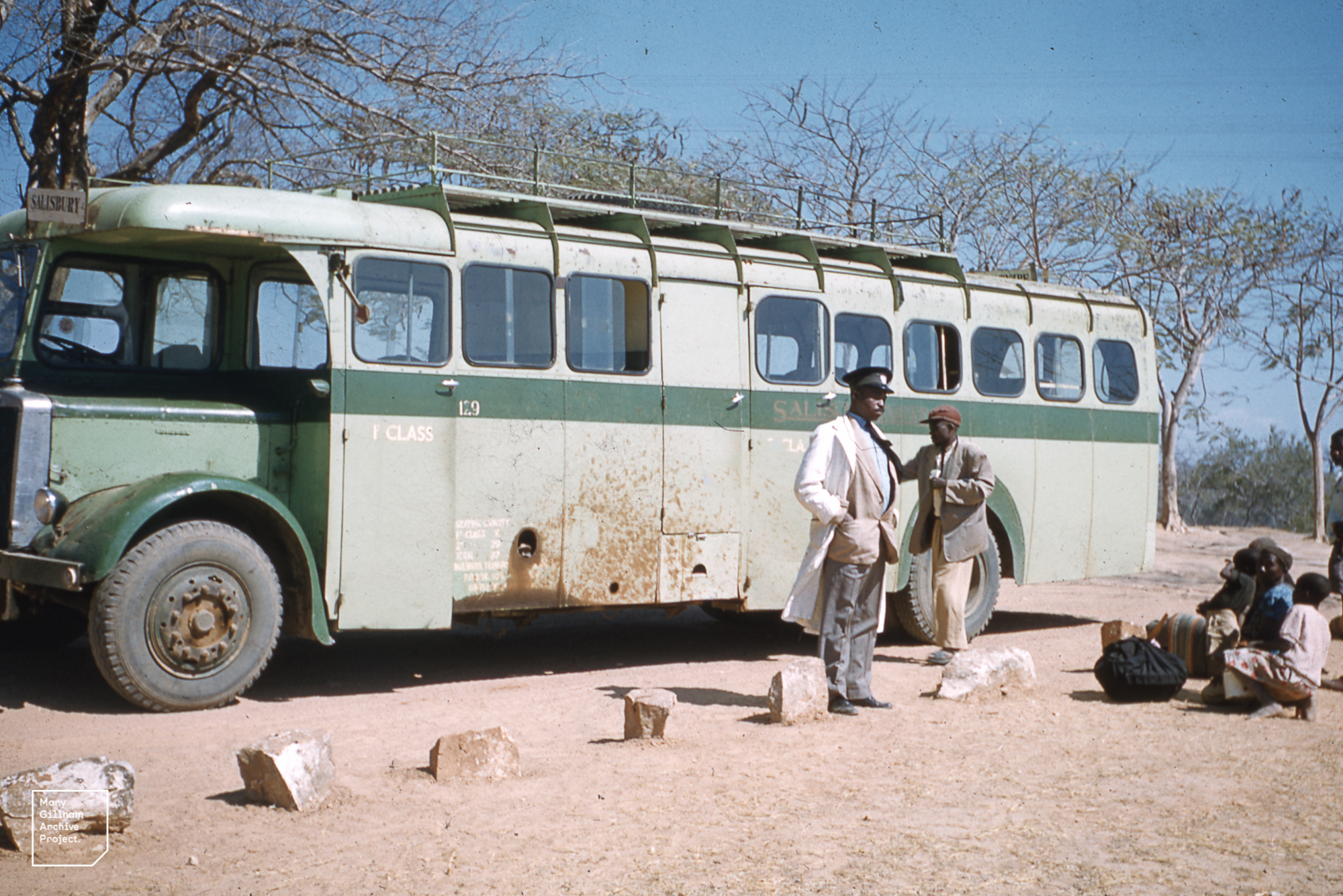Salisbury United bus by the Zambesi River on the border of south and north Rhodesia