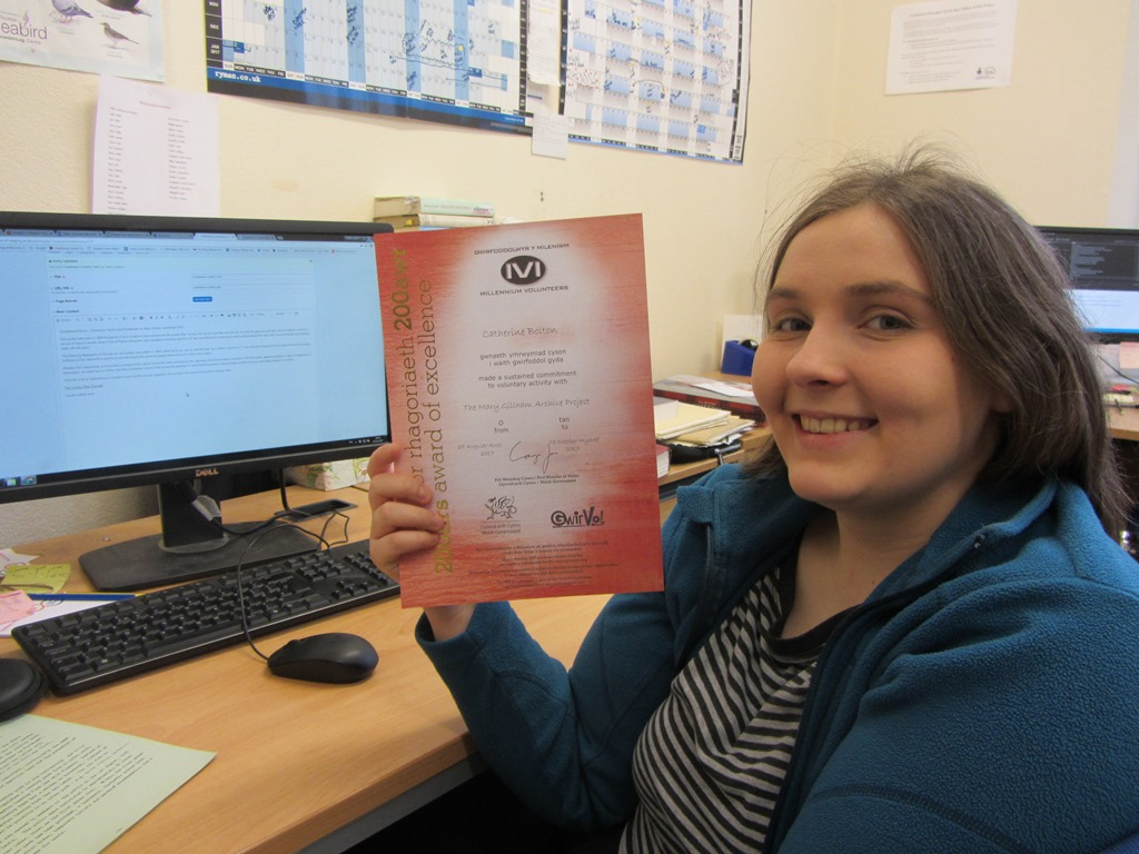 Cathy with her 200 hours volunteering MV certificate