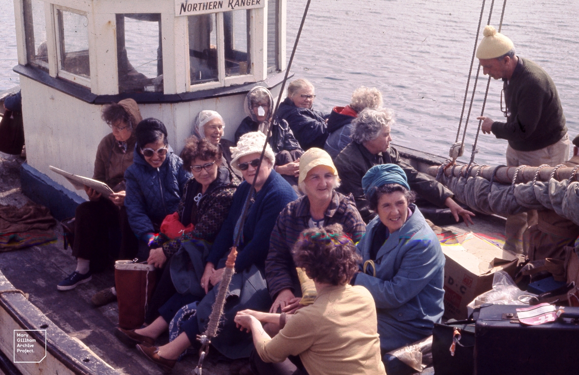 Extramurals on island boat at Cleggan pier, in County Galway, August 1970