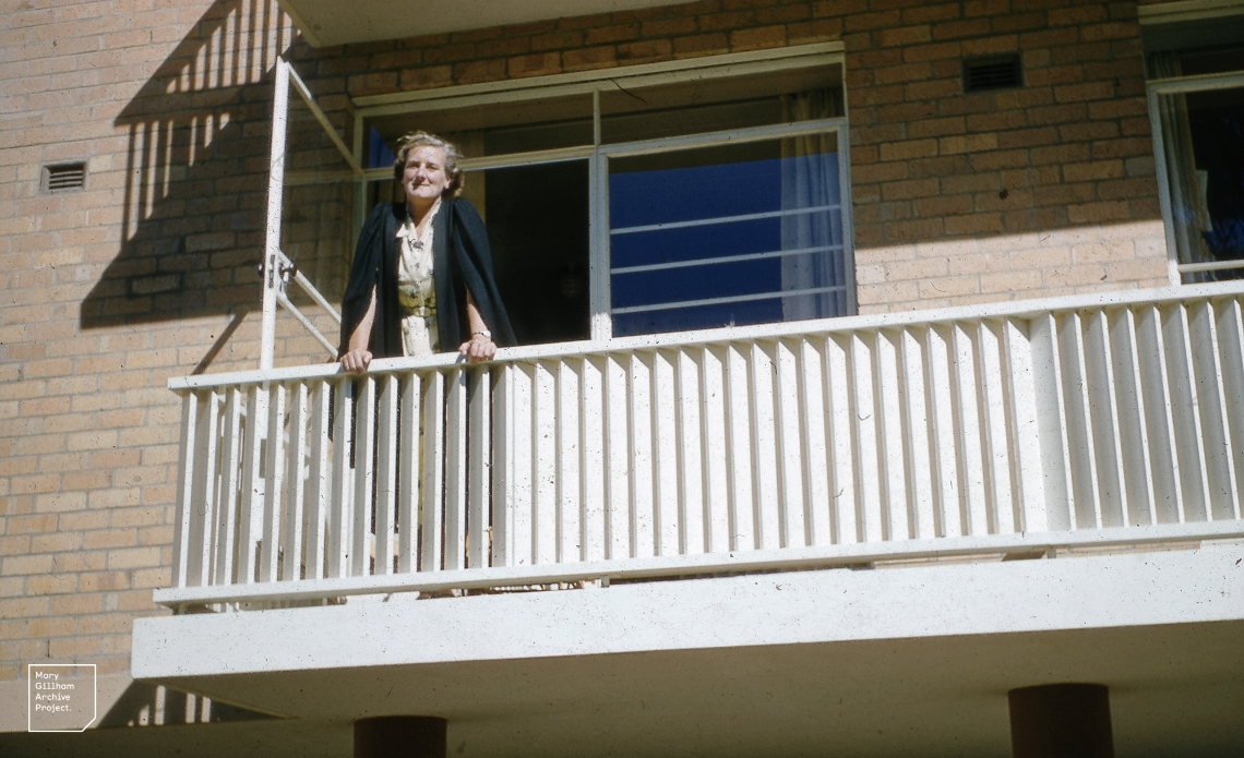 Me, on my resident tutors balcony, University Women's Hall, May 1958.