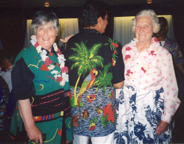 Mary and Mairead Sutherland aboard a cruise along the Amazon, November/December 2000