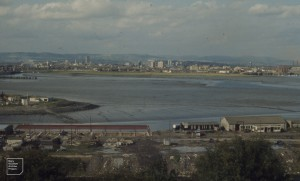 Grangetown, Hammadryad and Butetown saltmarshes from Penarth Docks, September 1974