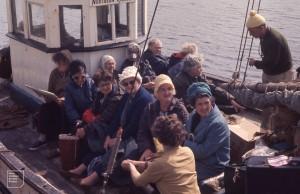 Extramurals on island boat at Cleggan Pier.