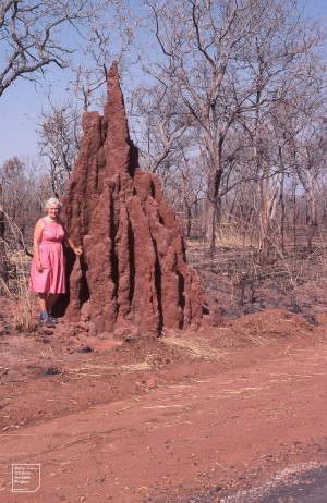 Me and castellated Termite mound, 1981