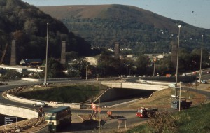 New roundabout complex in Taff Gorge, unfinished, 2 November 1971