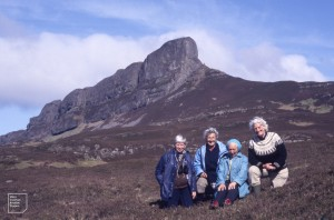 Agnes, Dot, Marg, Me [Mary Gillham]. Sgurr, Eigg, 1987