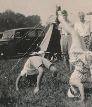 Mary and cousin Stella, camping 1935