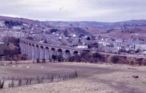Looking up Taf Fechan Gorge from Gellideg, West of Merthyr. Viaduct of defunct  railway. Heads of Valleys road bridge over top of reserve on right. Cwmmer = 2 cwms. 10/3/71