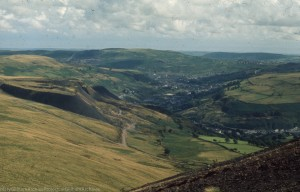 Wattstown tip above Wattstown just South of Tylorstown. Ynyshir and Porth at junction of 2 Rhondda rivers
