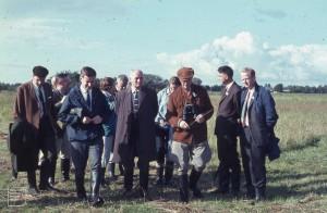 Prof. de Vries (in ginger). Blue grassland (Molinia) Wageningen, 1965