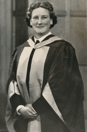 1953, Mary in Scarlet and Gold Doctorate robes