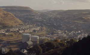 View down valley from Glyn Cornel, 28 October 1972. Left to Right. Trealaw, Rhondda Fawr, Pen y Graig, dry valley, Tonypandy, Clydach Vale.