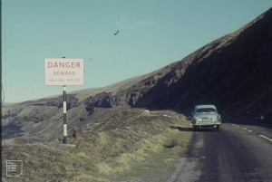 Road from Treherbert over top to Craig y Llyn. Under Ystradffernol. 6 March 1966.