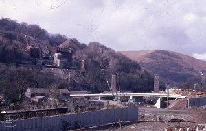 New bridge and new road workings in Taff Gorge lime burning plant on Little Garth, 13/02/71