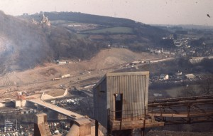 View from East end of Little Garth past crushing plant further left. Two bridges. Castell Coch. Wrinkle fold in road cutting. O.R.S. below carboniferous limestone. March 1971