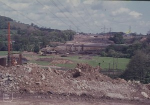 View east from Radyr to Tongwynlais. New M4, 1977