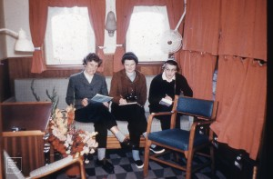 Thala Dan cabin for 4. The first females ever. 1959/60. [Mary, Susan Ingham, Hope MacPherson]