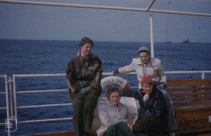 4 females on Thala Dan Christmas Eve, 1959. Macquarie Island [Susan Ingham, Mary, Isobel Bennett, Hope MacPherson]