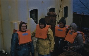 Life jackets on for going ashore [to Macquarie Island] from Thala Dan [Mary, Isobel Bennett, Susan Ingham, Hope MacPherson]. 1959