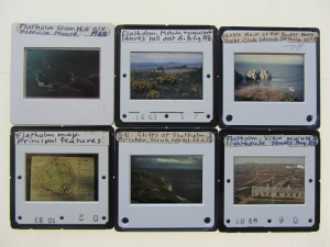 Some of Mary's Flat Holm slides as viewed on a light box.