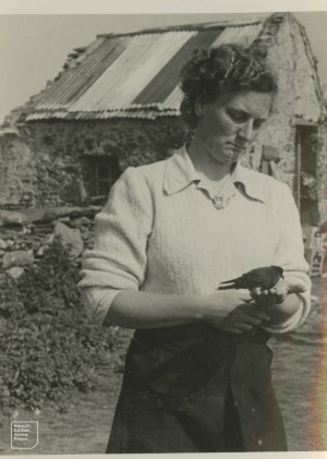Author [Mary] with storm petrel, 1948
