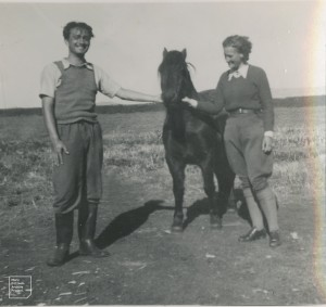 Ron Williams and author [Mary] with Sugarback, the lighthouse pony, 1948